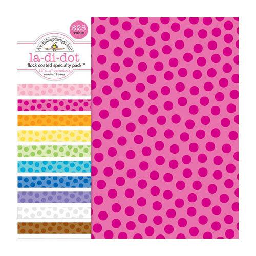 Doodlebug Design - 12 x 12 Crushed Velvet Cardstock Assortment - Spot Flocked - La Di Dot