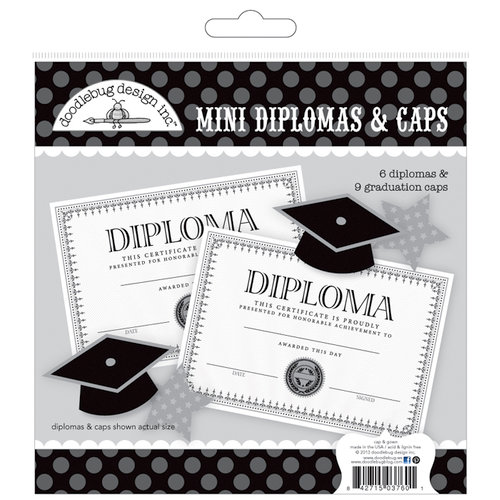 Doodlebug Design - Cap and Gown Collection - Mini Diplomas and Caps Craft Kit