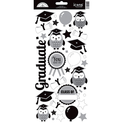 Doodlebug Design - Cap and Gown Collection - Cardstock Stickers - Icons