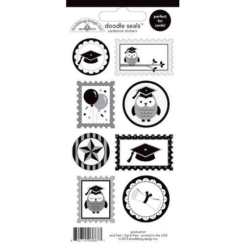 Doodlebug Design - Cap and Gown Collection - Cardstock Stickers - Seals