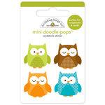 Doodlebug Design - Happy Harvest Collection - Doodle-Pops - 3 Dimensional Cardstock Stickers - Mini - Owlettes