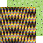 Doodlebug Design - Halloween Parade Collection - 12 x 12 Double Sided Paper - Shocking Chevron