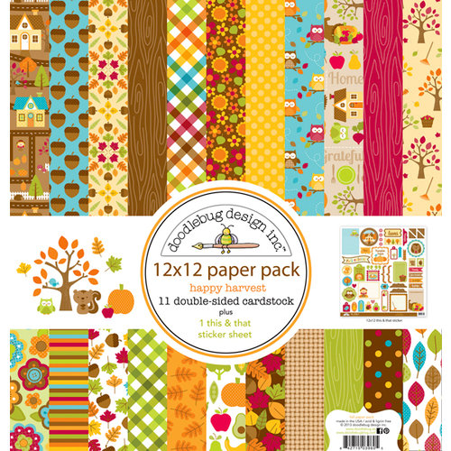 Doodlebug Design - Happy Harvest Collection - 12 x 12 Paper Pack
