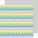 Doodlebug Design - Hip Hip Hooray Collection - 12 x 12 Double Sided Paper - Shades of Chevron