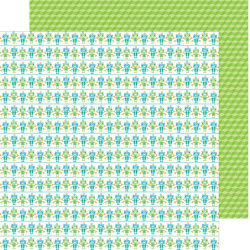 Doodlebug Design - Hip Hip Hooray Collection - 12 x 12 Double Sided Paper - Bitty Bots