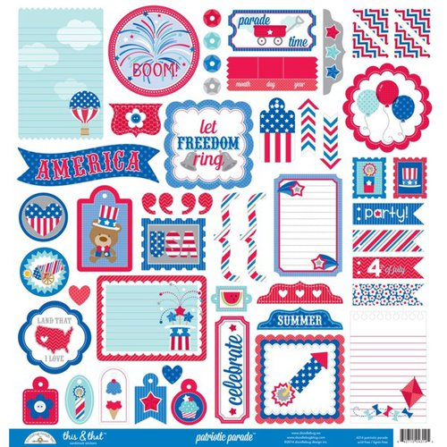 Doodlebug Design - Patriotic Parade Collection - 12 x 12 Cardstock Stickers - This and That