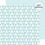 Doodlebug Design - Frosty Friends Collection - Christmas - 12 x 12 Double Sided Glitter Paper - Frosty Forest