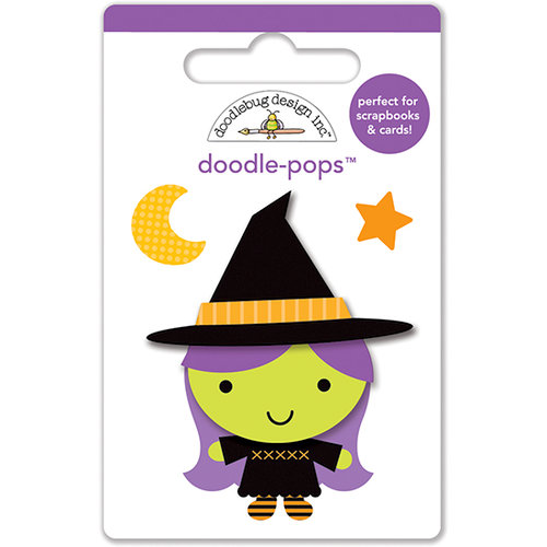Doodlebug Design - Ghouls and Goodies Collection - Halloween - Doodle-Pops - 3 Dimensional Cardstock Stickers - Mini - Wee Witch