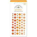 Doodlebug Design - Glitter Sprinkles - Self Adhesive Enamel Dots - Tangerine