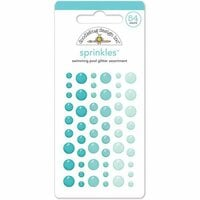 Doodlebug Design - Glitter Sprinkles - Self Adhesive Enamel Dots - Swimming Pool