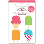 Doodlebug Design - Sun kissed Collection - Doodle-Pops - 3 Dimensional Cardstock Stickers - Mini - Summer Treats