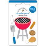 Doodlebug Design - Patriotic Picnic Collection - Doodle-Pops - 3 Dimensional Cardstock Stickers - Let's BBQ