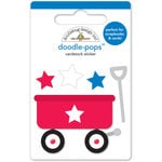 Doodlebug Design - Yankee Doodle Collection - Doodle-Pops - 3 Dimensional Cardstock Stickers - Little Red Wagon