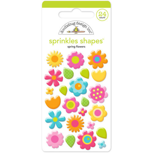 Doodlebug Design - Hello Sunshine Collection - Sprinkles - Self Adhesive Enamel Shapes - Spring Flowers