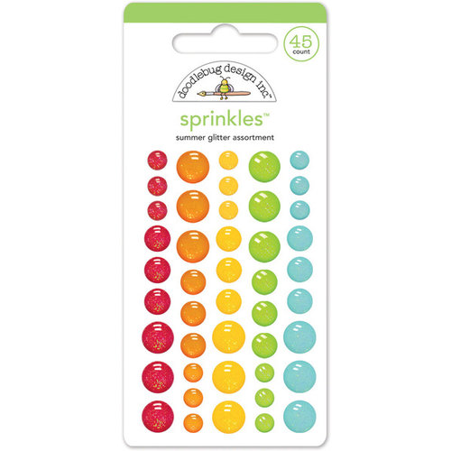 Doodlebug Design - Sun kissed Collection - Glitter Sprinkles - Self Adhesive Enamel Dots - Summer