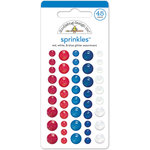 Doodlebug Design - Patriotic Picnic Collection - Glitter Sprinkles - Self Adhesive Enamel Dots - Red, White and Blue