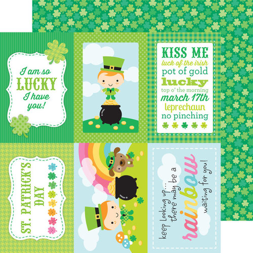 Doodlebug Design - Happy-Go-Lucky Collection - 12 x 12 Double Sided Paper - Lucky Clovers