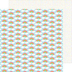 Doodlebug Design - Happy-Go-Lucky Collection - 12 x 12 Double Sided Paper - Row of Rainbows