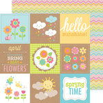 Doodlebug Design - Hello Sunshine Collection - 12 x 12 Double Sided Paper - Rainbow Chevron