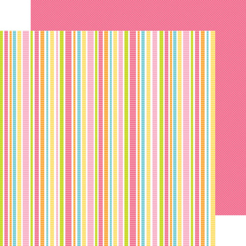 Doodlebug Design - Hello Sunshine Collection - 12 x 12 Double Sided Paper - Rainbow Ribbons