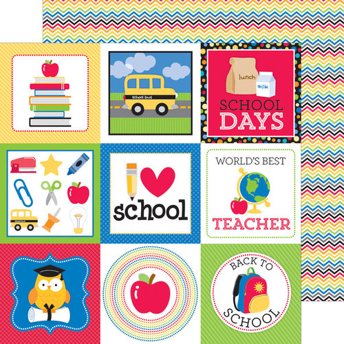 Doodlebug Design - Back to School Collection - 12 x 12 Double Sided Paper - Brainstorm