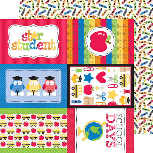 Doodlebug Design - Back to School Collection - 12 x 12 Double Sided Paper - Crayon Box