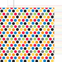 Doodlebug Design - Back to School Collection - 12 x 12 Double Sided Paper - Primary Polka Dots