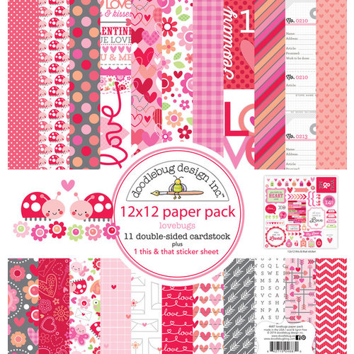 Doodlebug Design - Lovebugs Collection - 12 x 12 Paper Pack