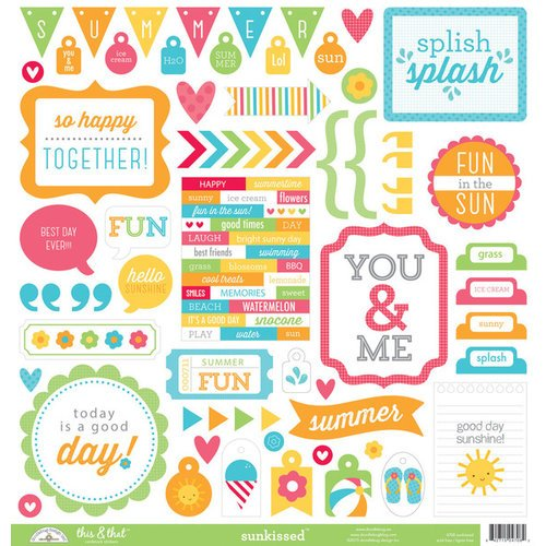 Doodlebug Design - Sun kissed Collection - 12 x 12 Cardstock Stickers - This and That