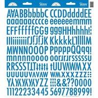 Doodlebug Design - Cardstock Stickers - Skinny Alphabet - Blue Jean
