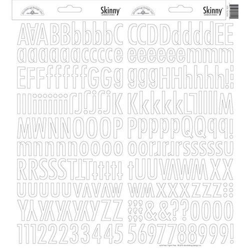 Doodlebug Design - Cardstock Stickers - Skinny Alphabet - Lily White