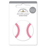 Doodlebug Design - Home Run Collection - Doodle-Pops - 3 Dimensional Cardstock Stickers - Baseball