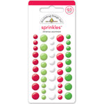 Doodlebug Design - Sugarplums Collection - Christmas - Sprinkles - Self Adhesive Enamel Dots - Christmas Assortment