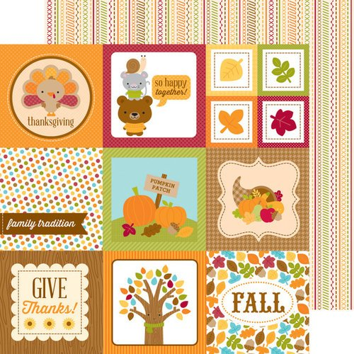 Doodlebug Design - Fall Friends Collection - 12 x 12 Double Sided Paper - Give Thanks