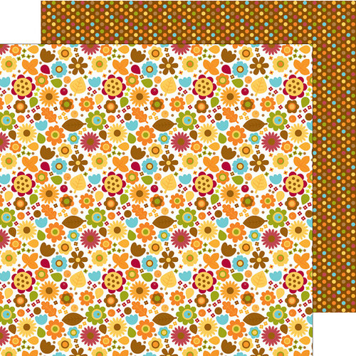 Doodlebug Design - Fall Friends Collection - 12 x 12 Double Sided Paper - Fall Floral