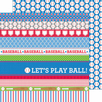 Doodlebug Design - Home Run Collection - 12 x 12 Double Sided Paper - Baseballs