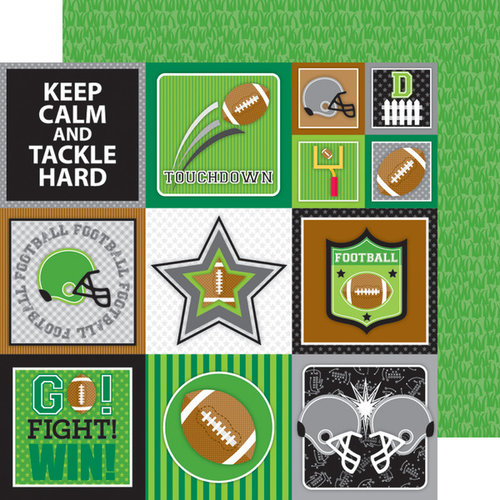 Doodlebug Design - Touchdown Collection - 12 x 12 Double Sided Paper - Football Field