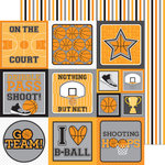 Doodlebug Design - Slam Dunk Collection - 12 x 12 Double Sided Paper - Game Stripe