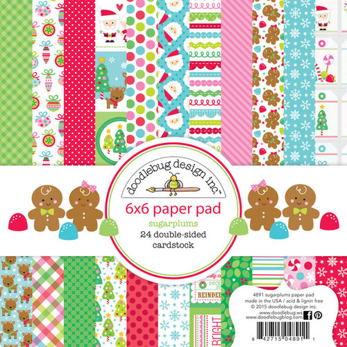 Doodlebug Design - Sugarplums Collection - Christmas - 6 x 6 Paper Pad