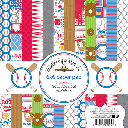 Doodlebug Design - Home Run Collection - 6 x 6 Paper Pad