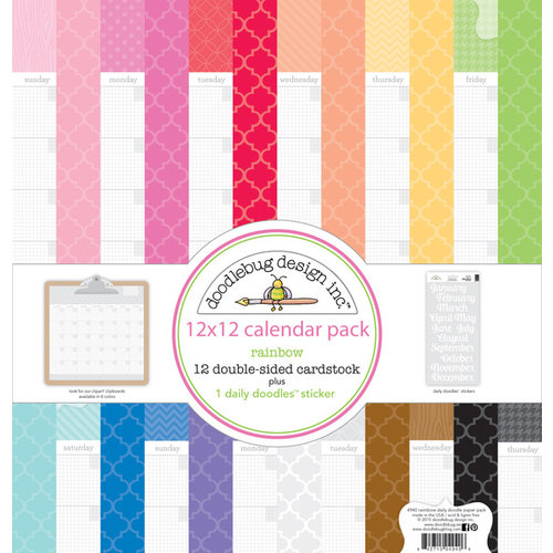 Doodlebug Design - Daily Doodles Collection - 12 x 12 Assortment Pack - Rainbow