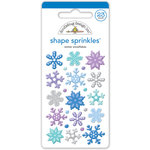 Doodlebug Design - Polar Pals Collection - Sprinkles - Self Adhesive Enamel Shapes - Winter Snowflakes Assortment