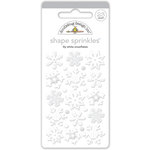Doodlebug Design - Polar Pals Collection - Sprinkles - Self Adhesive Enamel Shapes - Lily White Snowflakes Assortment