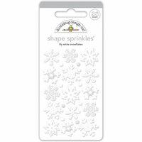 Doodlebug Design - Polar Pals Collection - Sprinkles - Self Adhesive Enamel Shapes - Lily White Snowflakes Assortment