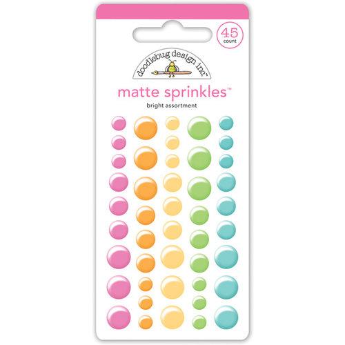 Doodlebug Design - Matte Sprinkles - Self Adhesive Enamel Dots - Bright Assortment
