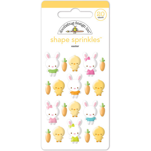 Doodlebug Design - Bunnyville Collection - Sprinkles - Self Adhesive Enamel Shapes - Easter