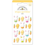 Doodlebug Design - Bunnyville Collection - Sprinkles - Self Adhesive Enamel Shapes - Easter