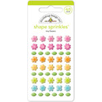 Doodlebug Design - Spring Garden Collection - Sprinkles - Self Adhesive Enamel Shapes - Tiny Flowers