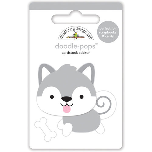 Doodlebug Design - Polar Pals Collection - Doodle-Pops - 3 Dimensional Cardstock Stickers - Happy Husky