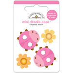 Doodlebug Design - Spring Garden Collection - Doodle-Pops - 3 Dimensional Cardstock Stickers - Little Ladybugs Mini